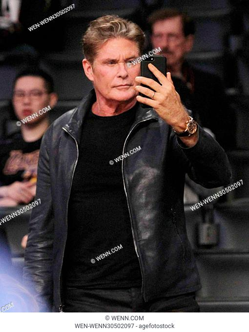 David Hasselhoff takes a selfie at the Los Angeles Lakers game. The Los Angeles Lakers defeated the Oklahoma City Thunder by the final score of 111-109 at...