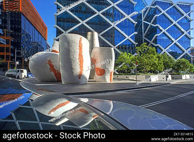 Sculptures at Macquarie Centre Bank. Financial area Barangaroo, on the western foreshore of the CBD Darling Harbour. Sydney, New South Wales, AUSTRALIA