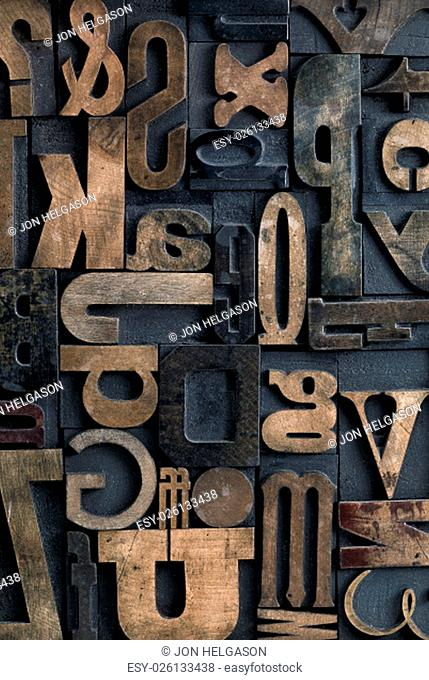 Collection of various wood type letters for printing