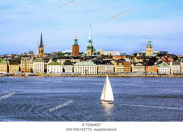 September 4, 2015 .Stockholm.View the sights and the harbour in the old town of Stockholm. Sweden