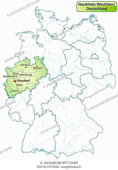 Karte von Nordrhein-Westfalen mit Hauptstädten in Pastellgrün