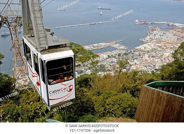 Cable car ascending the Rock of Gibraltar, Gibraltar