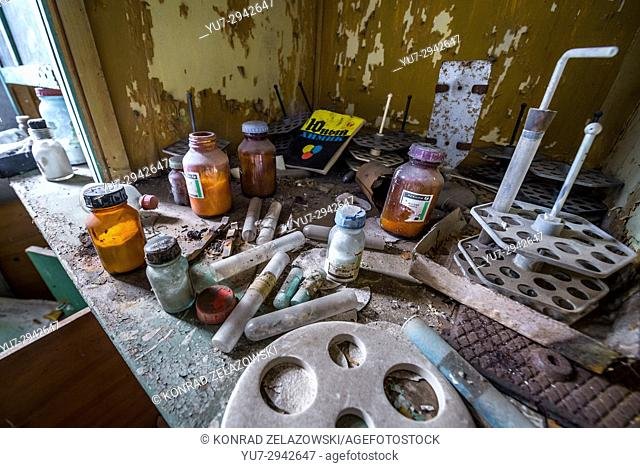 Chemistry lab in secondary school in Mashevo abandoned village of Chernobyl Nuclear Power Plant Zone of Alienation in Ukraine