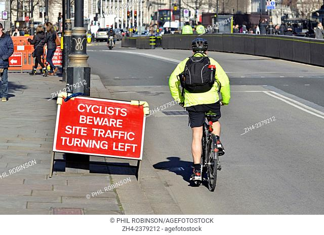 London, England, UK. Sign in Westminster warning cyclists