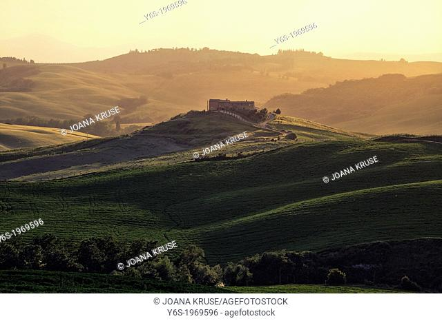 Val d'Orcia, Tuscany, Italy during sunset