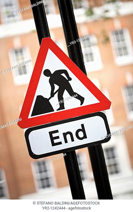 A roadwork sign,UK