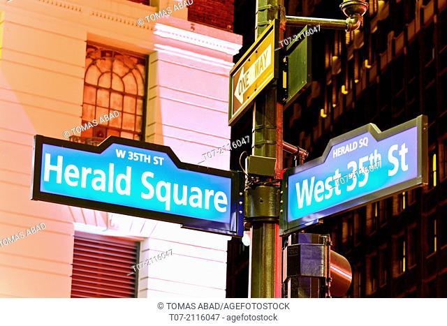 Public sidewalk street sign, Herald Square, 34th Street, Midtown Manhattan, Broadway, New York City, USA