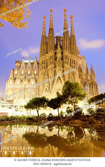 Sagrada Familia temple from Antonio Gaudi, Barcelona, Spain