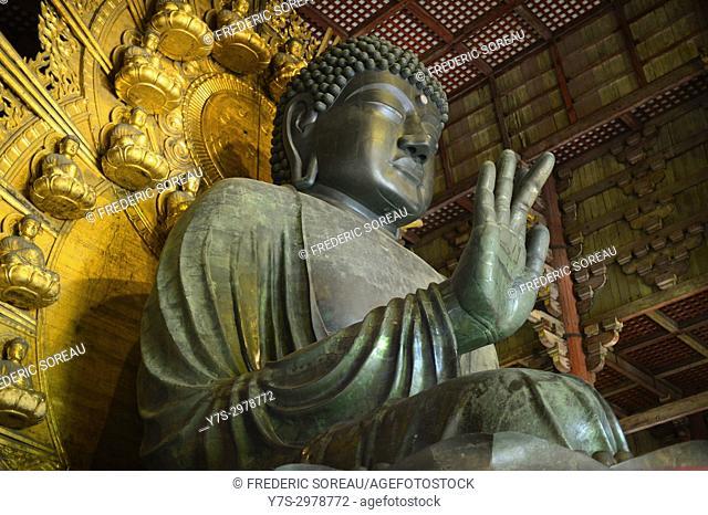 The great bronze statue of Buddha at Todaiji temple, Nara, Japan, Asia