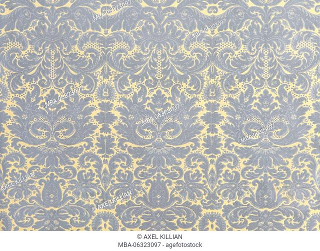 old wallpaper with grey golden baroque pattern as background