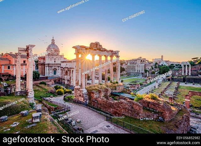 Scenic view of Roman Forum at sunrise, Rome, Italy