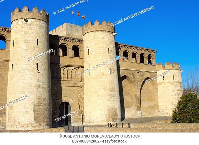 Palacio de la Aljafería, Arab palace built 11th century houses the Cortes de Aragón (autonomous parliament). Zaragoza. Aragón, Spain