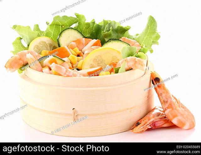 shrimp salad on white