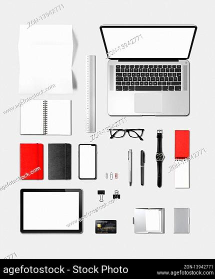 Office desk branding mockup top view isolated on grey. Blank space