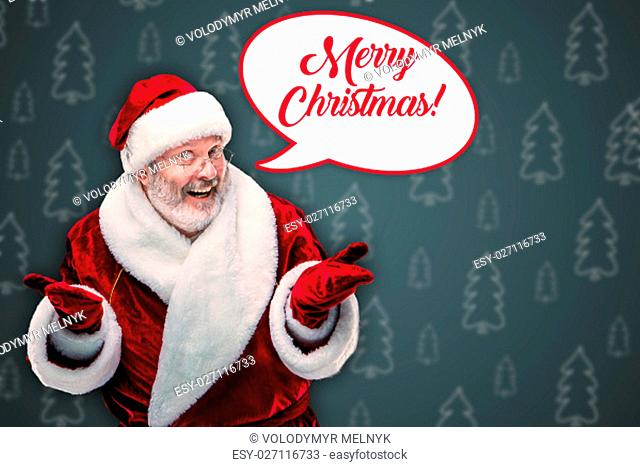 A happy, smiling Santa Claus in glasses with a gray beard on a blue background