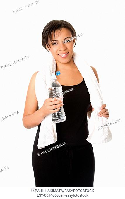 Beautiful attractive happy young sweaty woman with water after exercise workout, rehydrating thirst quenching, isolated