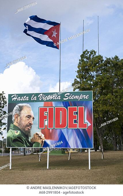 Fidel Castro at the Che Guevara Monument and Mausoleum, Santa Clara, Cuba. Ever onward to victory