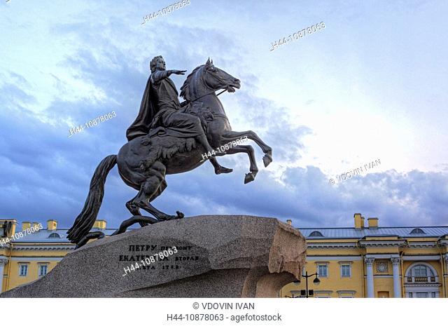 Monument, Peter the Great, Bronze Horseman, St. Petersburg, Russia