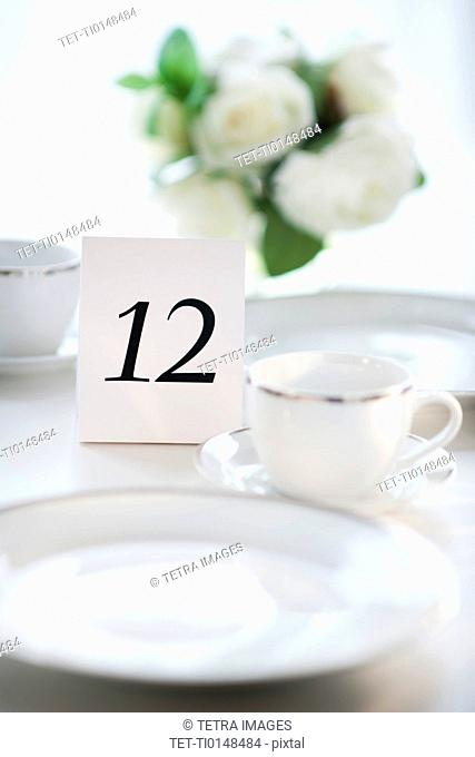 Close up of place setting with number 12