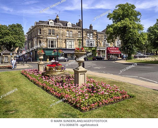 Flowerbed at the Crown in the Montpellier Quarter in Harrogate North Yorkshire England