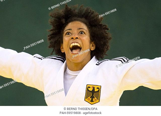 Germanys Miryam Roper celebrates after winning in the Women's 57kg Judo Women's Bronze Final B at the Baku 2015 European Games in Heydar Aliyev Arena in Baku