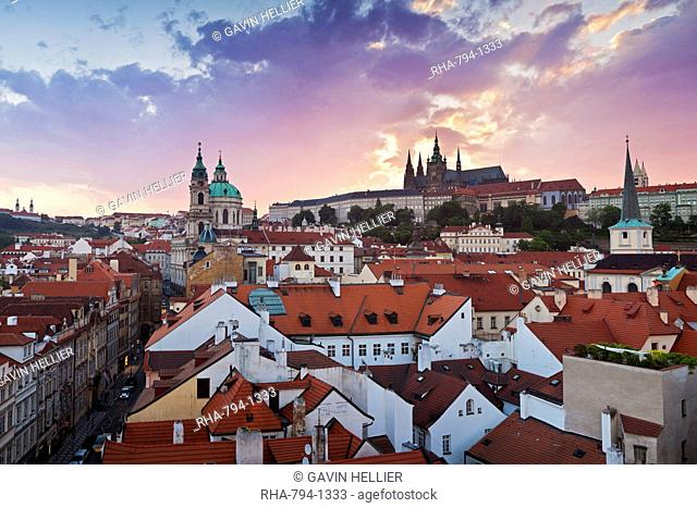 St. Vitus cathedral and St. Nicholas church, Prague, Czech Republic, Europe