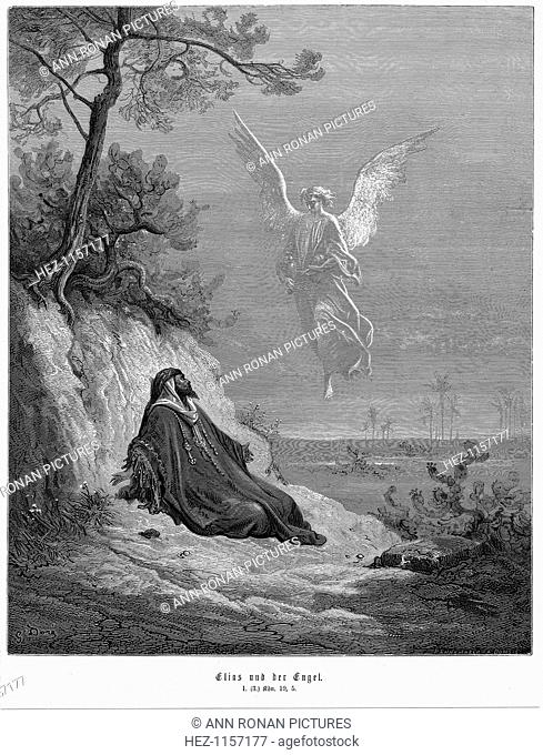 Elijah goes into wilderness and asks to die, but an angel comes and bids him 'arise and eat', 1866. From the Bible (1 Kings 19.5)