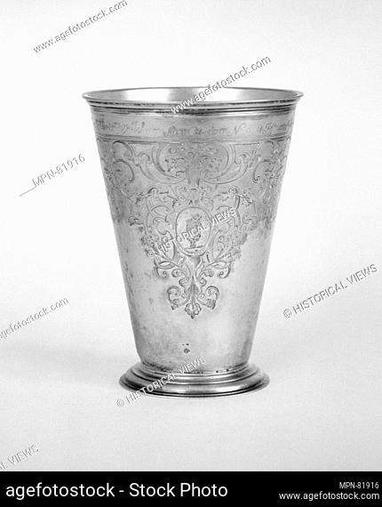 Beaker. Maker: Ludolf Lüders (working 1702-45, died 1747); Date: ca. 1731; Culture: Estonian (Narva); Medium: Silver, partly gilt; Dimensions: H
