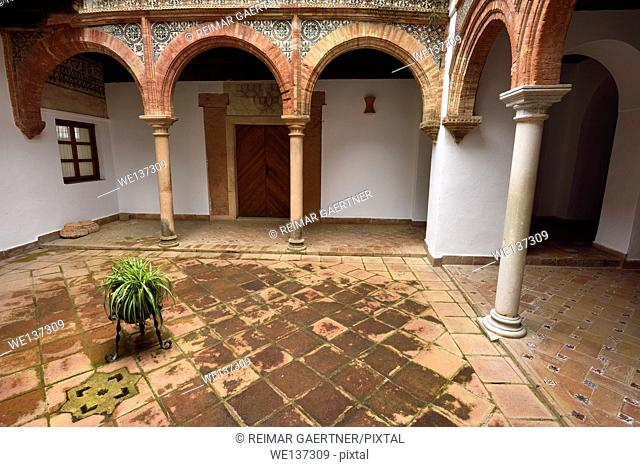 Mudejar style in open courtyard at Mondragon Palace and Ronda Museum Andalusia Spain