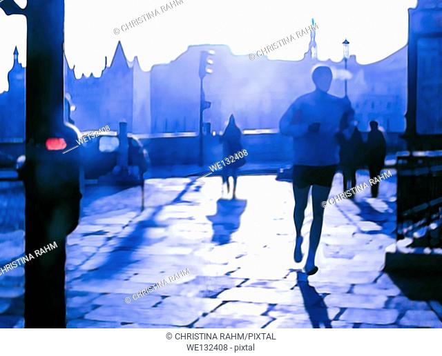 Morning jogger in the city, in violet purple light. Small red symbolic warning stop light on pole. Digital painting