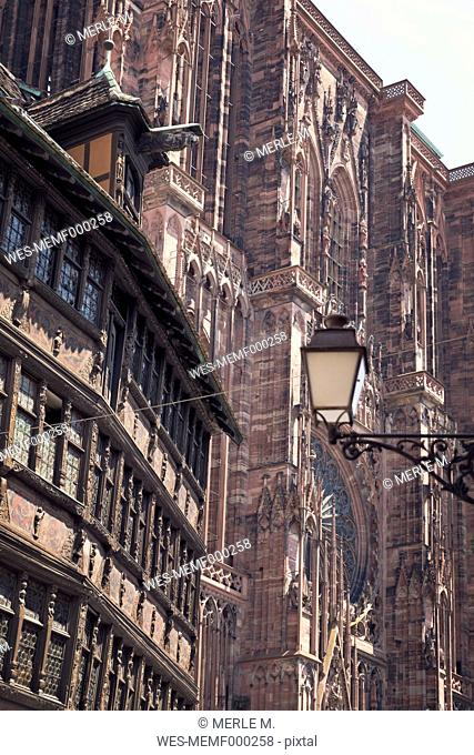 France, Strasbourg, Kammerzell House and Strasbourg Cathedral
