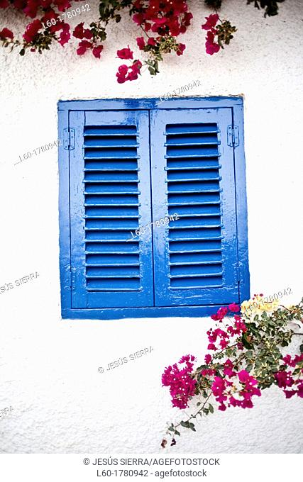 Blue window in Mojacar, Almeria province, Andalucia, Spain