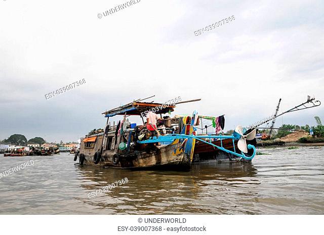 Vietnam, Mekong river delta.19/10/2014. Boat on traditional floating market