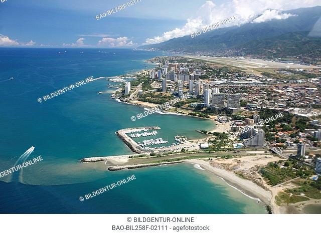 The coast at the international airport of Caracas with Maiquetia in the Caribbean in Venezuela in South America