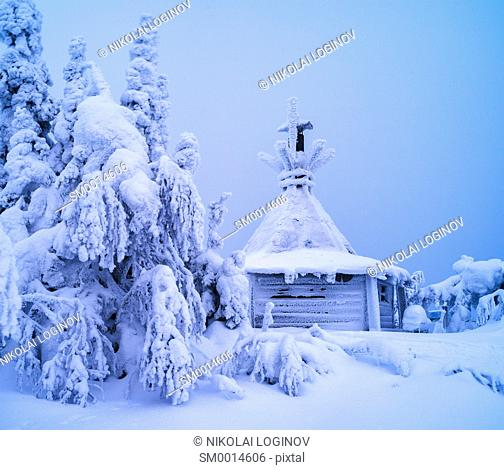 Horizontal vivid white winter Finland landscape background backdrop