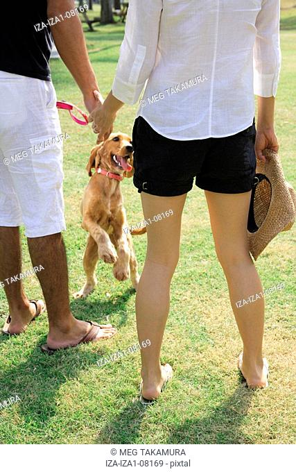 Rear view of a young woman and a mid adult man standing in a park with a dog