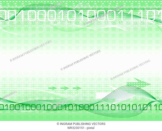 Abstract digital information background showing internet traffic passing around the world