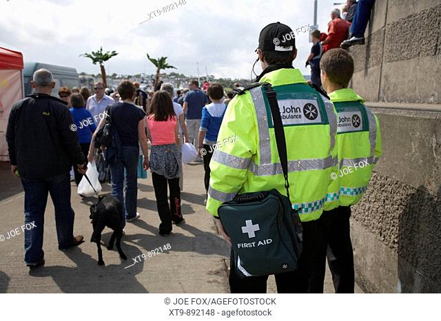 st john ambulance staff on first aid duty at a public event in bangor county down northern ireland uk