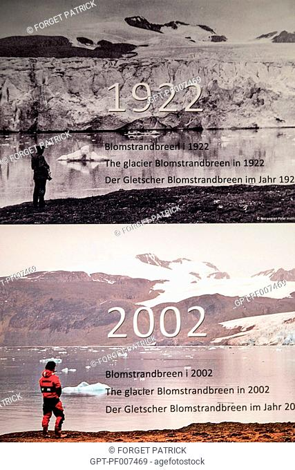 GLACIAL MELTING OVER 80 YEARS, POLAR MUSEUM OF THE VILLAGE OF NY ALESUND, THE NORTHERNMOST COMMUNITY IN THE WORLD (78 56N), SPITZBERG, SVALBARD, ARCTIC OCEAN