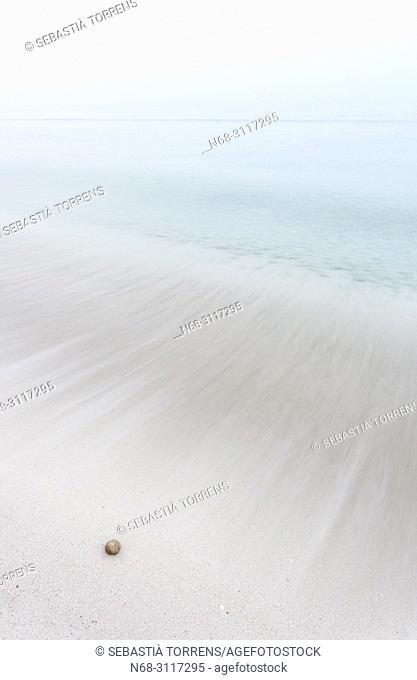 Fog on the beach, Playa de Muro, Alcudia Bay, Majorca, Balearic Islands, Spain