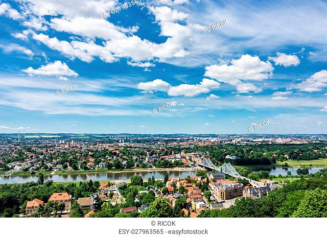 View over the river Elbe to Dresden (Germany)