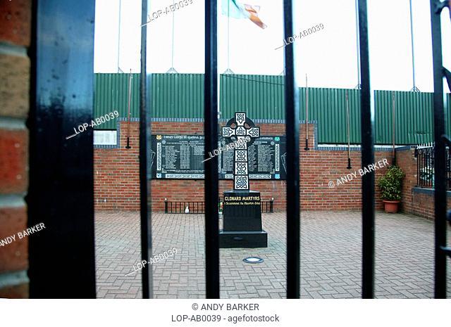 Northern Ireland, Belfast, Bombay Street, A view through the fence to the Clonard Martyrs memorial garden in Belfast