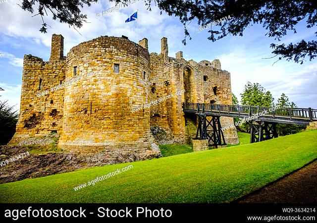 Dirleton Castle, a ruined medieval fortress in the village of Dirleton, East Lothian, Scotland