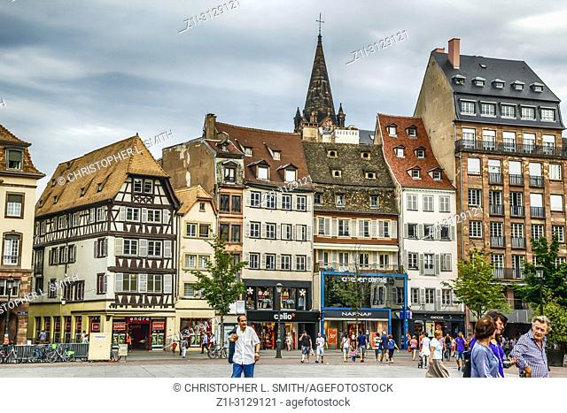 People in Place Gutenberg in the old part of the city of Strasbourg, France