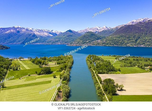 River Adda flowing into Lake Como, Trivio di Fuentes, Lower Valtellina, Lombardy, Italy