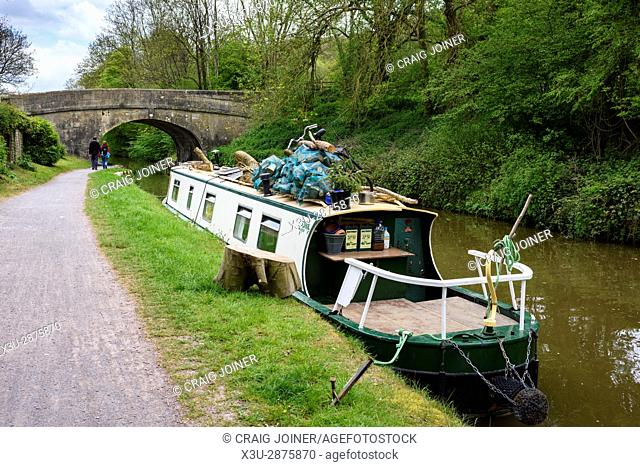 A barge on the Kennet and Avon Canal between Bradford and Avon and Bath in Wiltshire, England