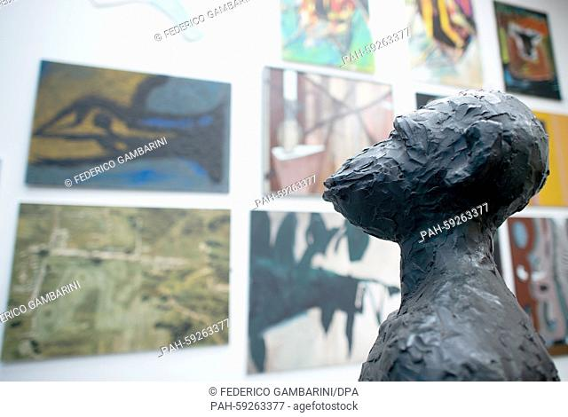 Artwork from art dealer Helge Achenbach's collection - including a monkey sculpture by Immendorff can be seen in the auction hall in Duesseldorf, Germany