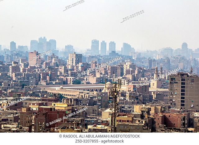 Cairo, Egypt – November 12, 2018: Image from the top of the city of Cairo, the capital of Egypt, And it's showing some residential buildings