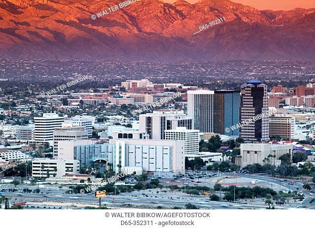 City view from Sentinel Peak at dusk. Tucson. Arizona, USA