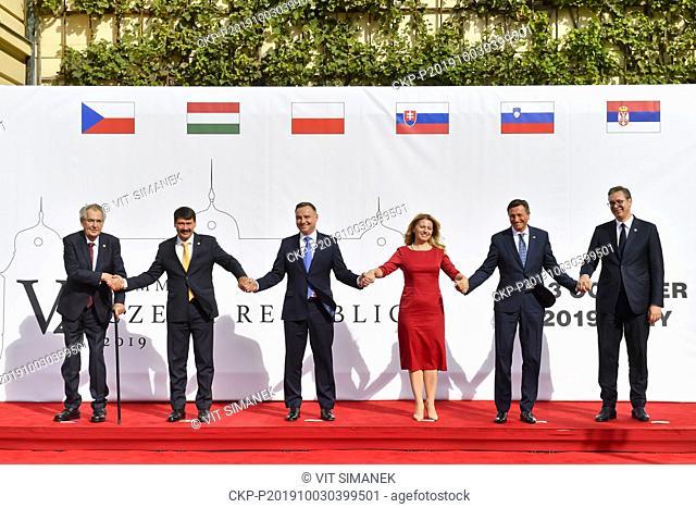 Presidents from left: Czech Milos Zeman, Hungarian Janos Ader, Polish Andrzej Duda, Slovak Zuzana Caputova, Slovenian Borut Pahor and Serbian Aleksandar Vucic...